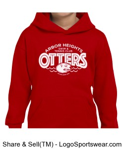 Red Otter Youth Hoodie Design Zoom