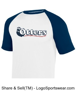 White/Navy Youth Retro Otter Ringer T-Shirt Design Zoom