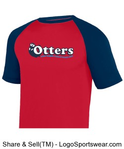 Red/Navy Youth Retro Otter Ringer T-Shirt Design Zoom