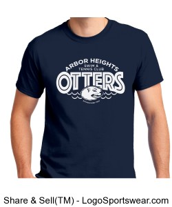 Navy Otter Adult T-Shirt Design Zoom