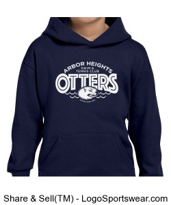 Navy Otter Youth Hoodie Design Zoom